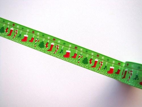 Páska: Vánoční stromečky a punčochy (3 x 33 cm)