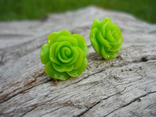 Náušnice Růžičky Zelené svěží napichovačky