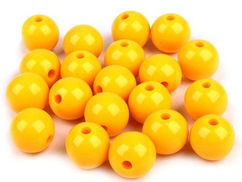 Plastové korálky 12mm kulička / žlutá (10ks)