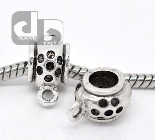 Stříbrný korálek s očkem na hrubý řetízek