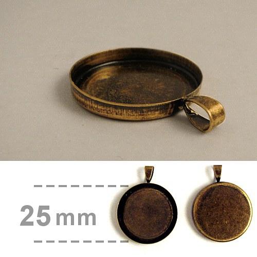 Hluboké lůžko kruhové (25 mm) - staromosaz