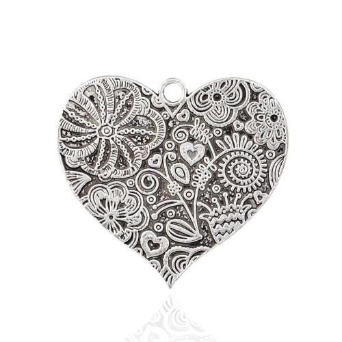 Přívěsek srdce s květinami  XXL