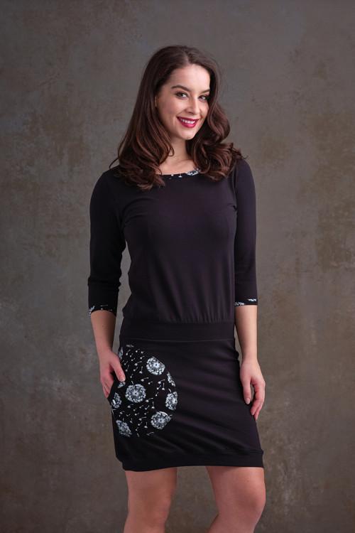 Dress Carrie Black and Black/White Dandelions Fluf