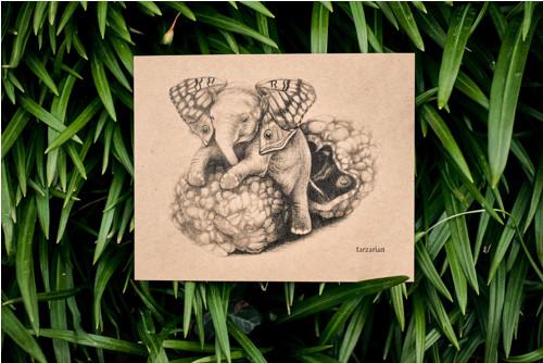 Slon s křídly • pohlednice kraftová