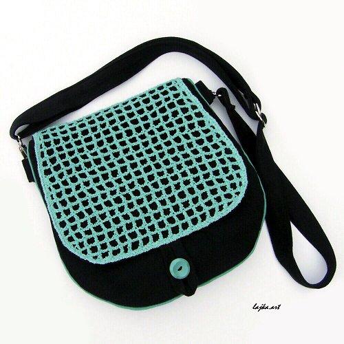kabelka  s háčkovanou KLOPOU