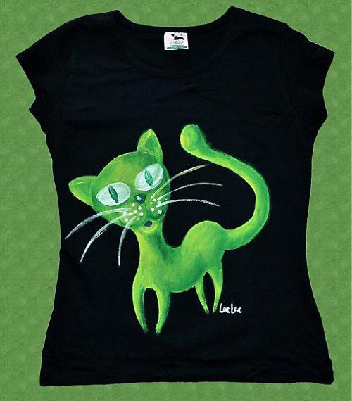 Tričko - zelená kočka