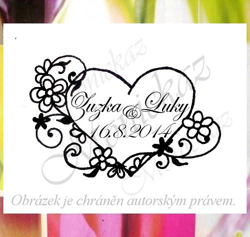 Svatební č.46 květinové srdce. Omyvatelné razítko.