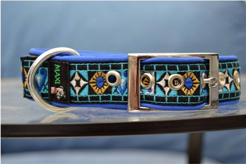 Tkaný obojek modrý klasik