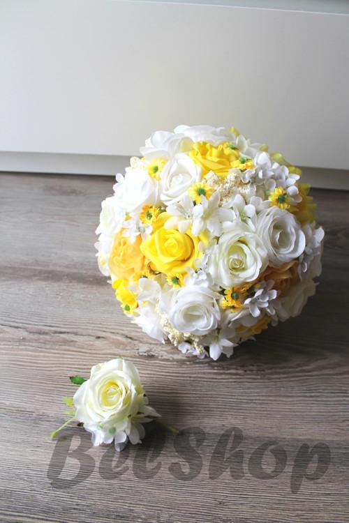 Svatební kytice ve žlutém mixu