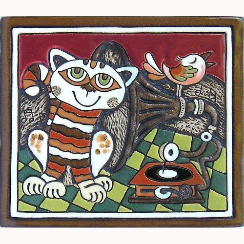 Keramický obrázek - Kočka a gramofon K-126-CE-Z