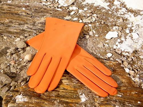 Oranžové kožené rukavice s vlněnou podšívkou