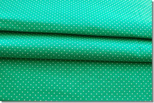 Látka puntík bílý na zelené