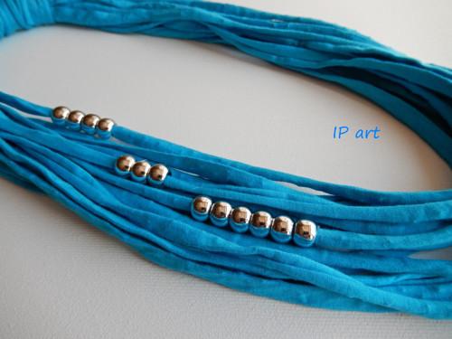 Tyskysový - úpletový náhrdelník, nákrčník