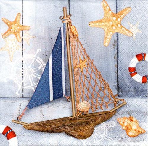 Papírový ubrousek,loď,mušle,hvězdice,2ks