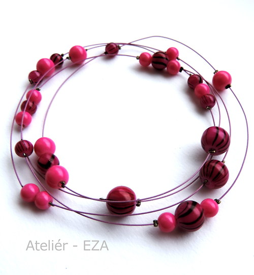 Univerzálních 100 cm fialovo růžových korálků