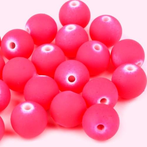 Korálky pogum. ostře růžové -12 mm - 10 ks