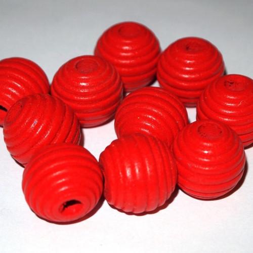 Dřevěné korálky vroubky kuličky 20 mm (cena10ks)