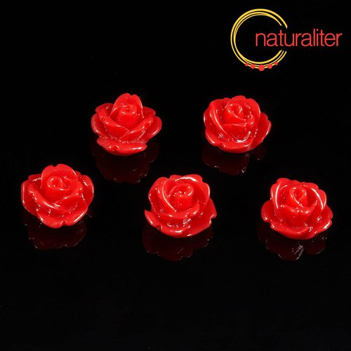Růžička - kabošon z pryskyřice 10mm, červená, 10ks