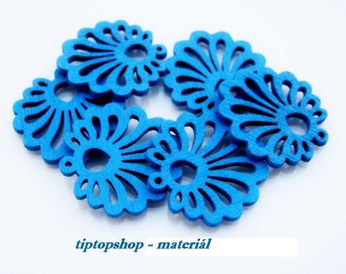 Dřevěné filigrány mušle, modré (6ks)
