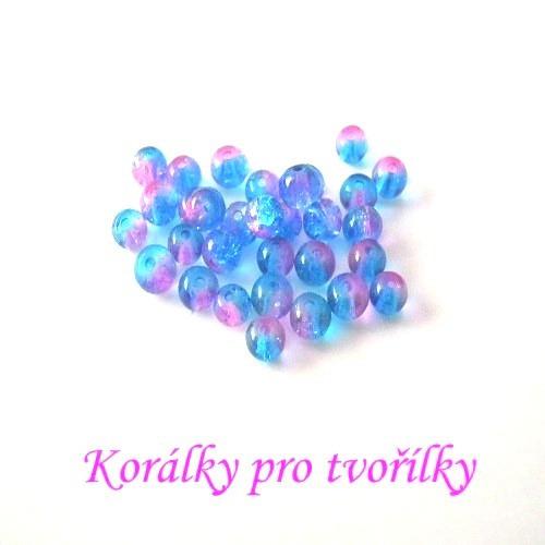 Práskané korálky modrorůžové 4mm/20ks/7,- Kč