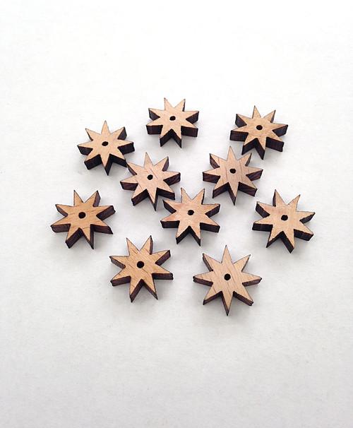 Dřevěné korálky HVĚZDIČKY 8cípé 14mm (10ks)