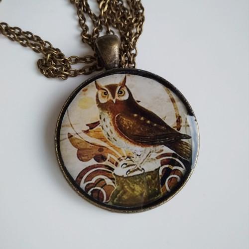Vintage medailon dlouhý Sovička