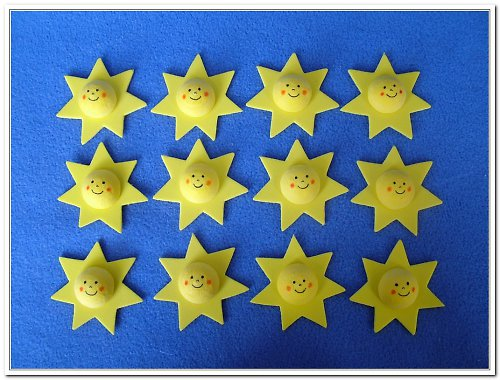 Hvězdičky s obličejem - 12 kusů - dekorace