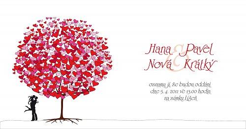 Svatební oznámení - Láska červeno-růžová