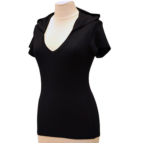 Černé tričko s kapucí belaroma s krátkým rukávem