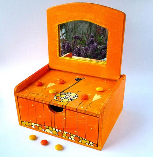 Šperkovnice se zrcadlem - oranžová s žirafou