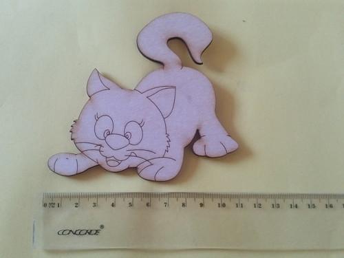 Kočka - dřevěný výřez