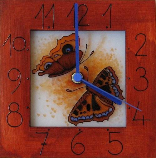 Motýlci - hodiny v rámu 17cm