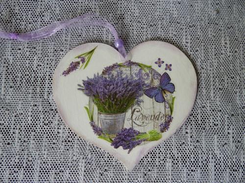 Dekorační romantické srdíčko levandulové