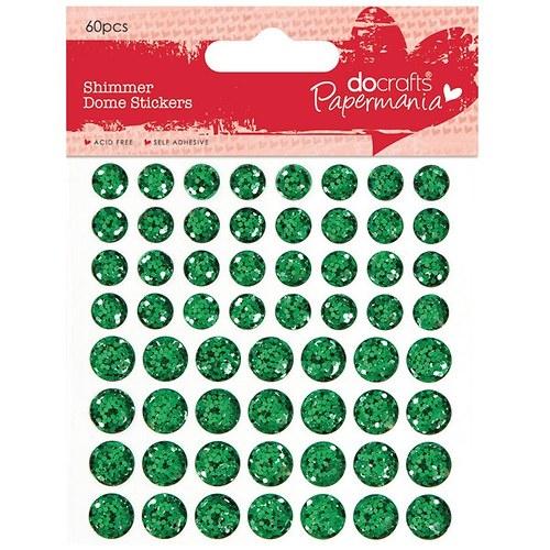 Třpytkaté vypouklé samolepicí tečky 60ks - zelené