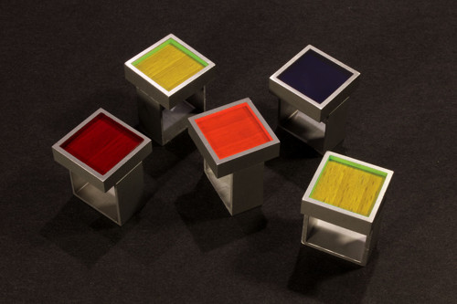 Minimalistycký hranatý prsten- colouris