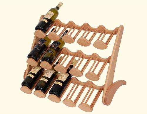 Dřevěný stojan na 15 lahví vína