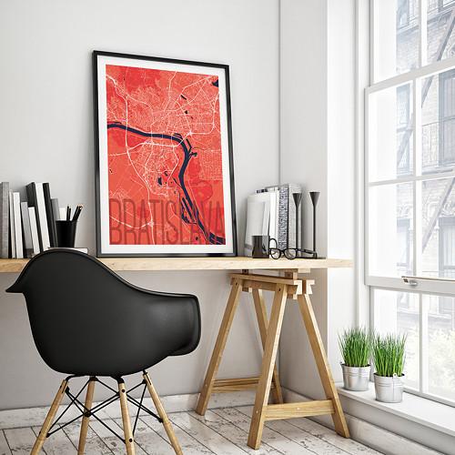 BRATISLAVA, 50x70cm, elegantní, červená