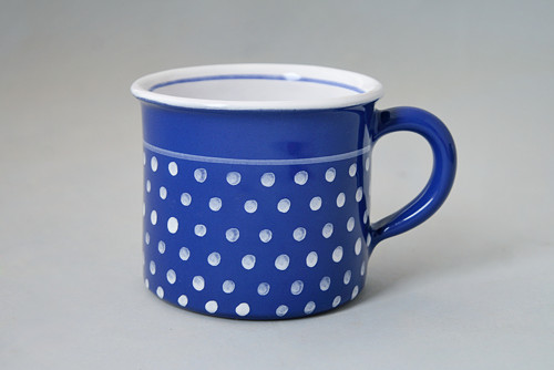 Kafáč 8 cm puntík  modrý 0,3L