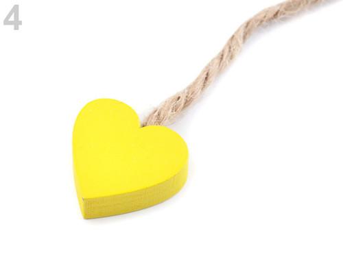 Dřevěné srdce - žlutý (4ks)