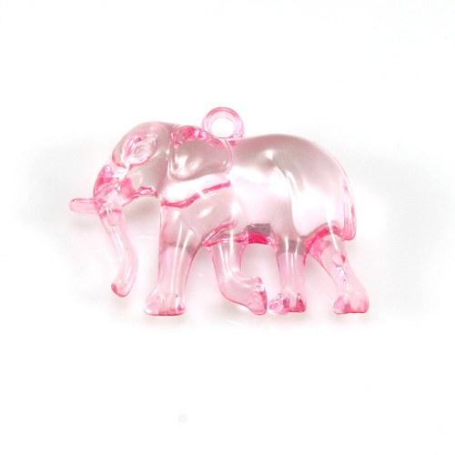 Světle růžový slon - plastový přívěsek, 32x26 mm