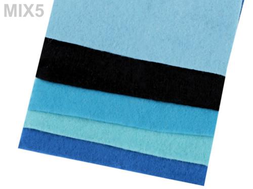 Sada dekorativních filců/plstí 10x45cm(5ks) -mix 5