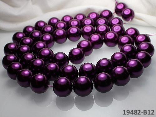 19482-B12 Voskované perly 16mm TM.FIALOVÉ, bal.2ks