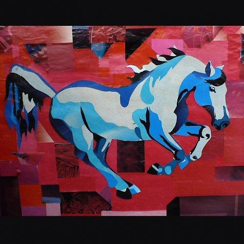 Kolážový kůň  - pádící