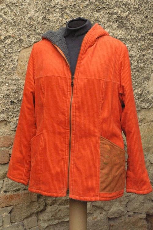 Zářivě oranžový kabátek s chlupem - Zvonky