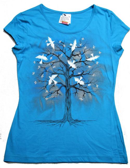 Strom+ptáci na tyrkysové