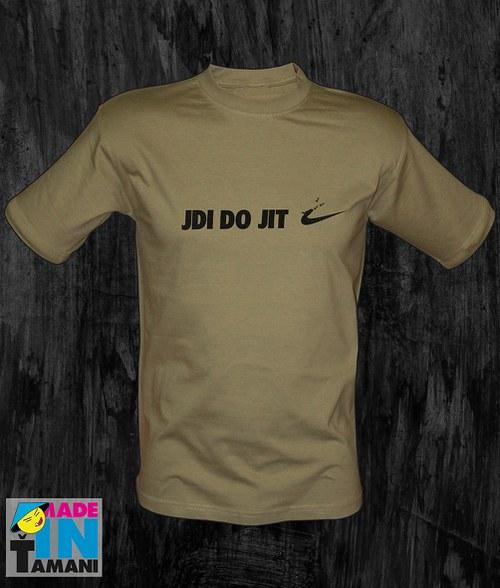 Pánské khaki tričko Jdi dojit 02