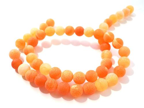 Praskaný achát matný 8 mm/5 ks oranžový