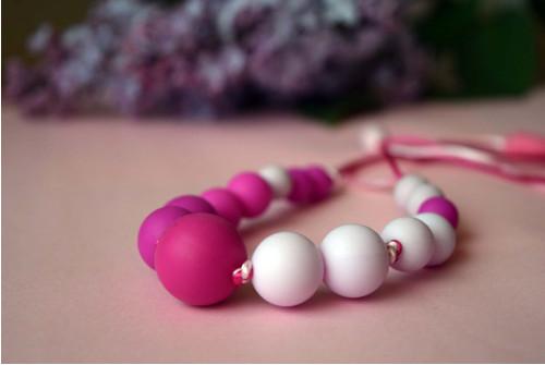 silikonové korálky - duo růžový náhrdelník