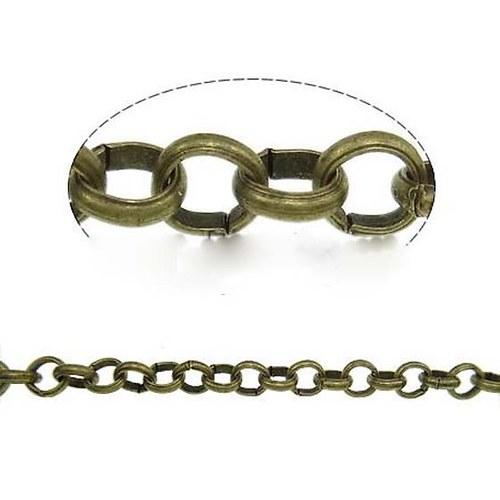 Řetízek Kulatý 1x3,5mm - 1m - Bronzový
