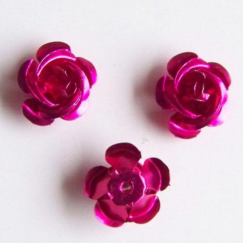kovový korálek růže/tm.růžová/ 17mm/ 10ks